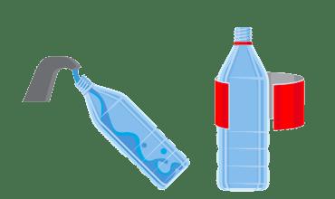 Изплакнете бутилката (ако по нея има много остатъци, може да замърси и останалите отпадъци в контейнера, като така затрудни целия процес).