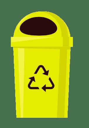 Поставете отпадъка в жълтия контейнер за пластмасови опаковки.
